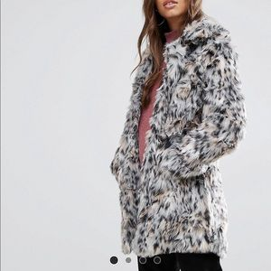QED London Faux Fur Coat - Large